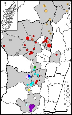 Sites of Madagascar cases, 2007 (Riehm et al, 2015)