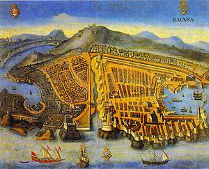 Painting of Ragusa, 1667. Currently housed in the archives of Dubrovnik (Public domain)